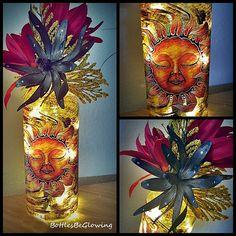 Sleeping Sun Bottle Light with LED Lights by BottlesBeGlowing