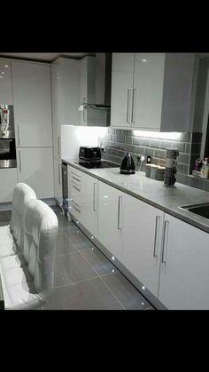 Bathroom Ideas, Kitchen Ideas, Kitchen Cabinets, Home Decor, Grey Floor Tiles, Kitchen, Decoration Home, Room Decor, Cabinets
