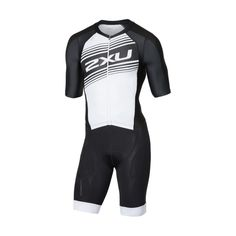92e34fdbe55025 2XU Compression Full Zip Sleeved Trisuit Herren Schwarz Weiß
