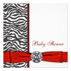 Elegant Red Zebra Baby Shower Personalized Invitations