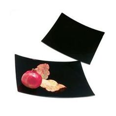 Ten Strawberry Street 12 Inch Black Lacquer Square Charger Plate- Set of 4