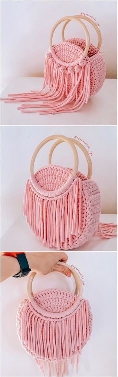Crochet Ideas With Knitting Patterns - Diy And Crafts Crochet Purse Patterns, Knitting Patterns, Handbag Patterns, Crochet Handbags, Crochet Purses, Macrame Bag, Diy Purse, Crochet Designs, Pattern Designs