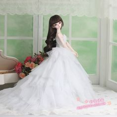 (39.00$)  Watch more here - http://ait0f.worlditems.win/all/product.php?id=32392230324 - 1/3 1/4 scale BJD Wedding dress for BJD/SD girl dolls,fit 32cm big bust girl A15A1169.Doll and other accessories not included