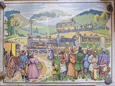 Planche pédagogique de l'histoire de France tableau #6 le 1er chemin de fer Paris St Germain & tableau #5 la révolution de 1830 by Decadisme on Etsy