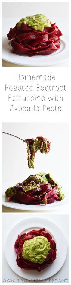 My Vibrant Kitchen   Homemade Roasted Beetroot Fettuccine with Avocado Pesto   myvibrantkitchen.com