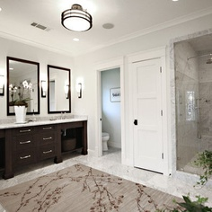 Double Vanity Bathroom Rugs love these sconces and the mirrors. pottery barn's sussex tube