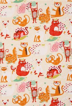 beige cream colored Alexander Henry animal fabric with colorful cats 3