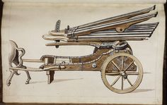 """Instrument of war This looks like a musical instrument, but it is, in fact, a very early gun. It was meant to shoot several bullets at the same time. The way the barrels are lined up gave this weapon the popular name """"organ gun"""". This is a very early depiction of one, dating from the late 16th century. It is part of a book of war, which presents other newly-invented weaponry. It may not be entirely drawn in perspective yet, and you may prefer an organ over a gun, but you are looking at the…"""