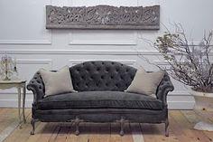 Vintage Sofa In Dark Gray Velvet Antique Couch Sofá