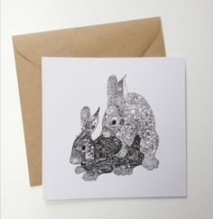 'F** Awesome Rabbits' Giftcards, printed on 100% recycled paper by Denise Fort Art