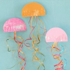 DIY Finding Nemo party jellyfish - could paint paper plates and add glitter. Cheap and Easy!