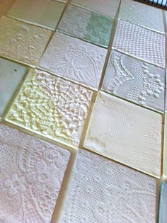 Tex-tiles by Studio Barbara Vos are unique translucent porcelain tiles with the texture of lace, suitable for any space from bathroom to hotel lobby. Tiles, Decor, Wall Covering, Home, Fabric, Triangle, Porcelain Tile, Home Tex, Home Decor