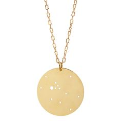 Astrological Necklace, showing the constellation of your sign as it appeared in the night sky. (Shown: Taurus) $45. Made of solid brass.