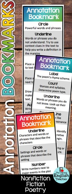 Help your students find an easy way to annotate with annotating bookmarks for non-fiction, fiction, and poetry.