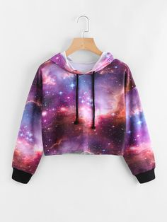 Galaxy Print Drawstring Crop Hoodie - Romwe Galaxy Print Drawstring Crop Hoodieone-size Source by - Girls Fashion Clothes, Teen Fashion Outfits, Cute Fashion, Teen Clothing, Style Clothes, Gothic Fashion, Cute Girl Outfits, Cute Casual Outfits, Galaxy Outfit