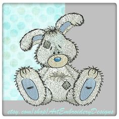 "Bunny - machine embroidery design for Baby and Children of a series of ""Old Toy"""