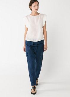Pantalón cintura vuelta - Pantalones de Mujer | MANGO
