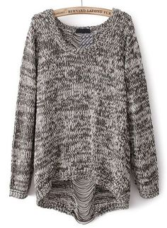 Grey Long Sleeve Ripped Knit Loose Sweater $36.07