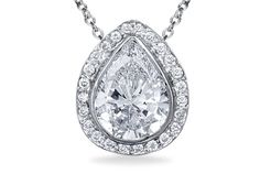 Stunning Pear Shaped Halo Pendant - in 18kt White Gold
