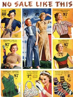 No sale like this, everything under $2 Women's fashion 1938 ~