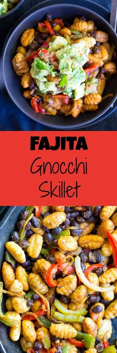 This Fajita Gnocchi Skillet is a delicious 30-Minute vegetarian dinner recipe that only uses one pan!  Gluten free and vegan too!