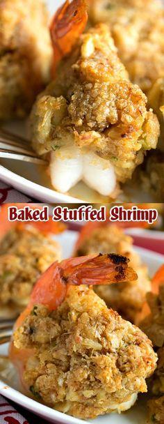 Baked Stuffed Shrimp Source by - Pork Rib Recipes, Prawn Recipes, Shellfish Recipes, Seafood Recipes, Cooking Recipes, Cajun Recipes, Seafood Meals, Drink Recipes, Shrimp Dishes
