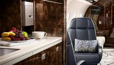 Embraer Legacy 500 jet galley interior.