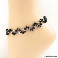 Black beaded chainmaille anklet, stainless steel