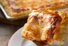 Sicilian-Style Pizza Frozen bread dough, pizza sauce and lots of mozzarella cheese make it easy to make this pizzeria-style pizza at home. Cheesy Lasagna Recipe, Instant Pot Lasagna Recipe, Entree Recipes, Pizza Recipes, Prego Sauce Recipe, Sicilian Style Pizza, Campbells Recipes, Frozen Bread Dough, Pizza Ingredients