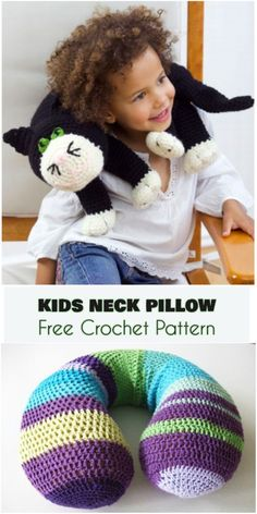 Spectacular Crochet Mobile Cell Phone Pouch Ideas Crochet Iphone Kids Neck Travel Pillow - Kids love to travel with their favorite toys. Mobiles En Crochet, Crochet Mobile, Crochet Crafts, Crochet Toys, Crochet Ideas, Crochet Pillow Patterns Free, Crochet Cat Pattern, Knitting Patterns, Chat Crochet