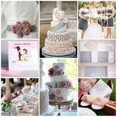 mariage rose et gris, faire part mariage  gris et rose