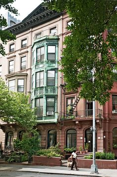 5-story brownstone with copper bay window (1856), 23 Pierrepont Street, Brooklyn Heights, New York