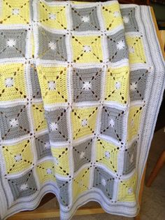 Solid granny square blanket, Stylecraft Special DK, mm hook, pale yellow, grey and white yarn. Crochet Afghans, Crochet Motifs, Crochet Quilt, Crochet Blanket Patterns, Baby Blanket Crochet, Crochet Baby, Diy Crochet, Crochet Flower, Crochet Stitches