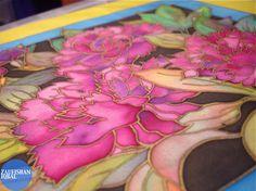Silk Painting Oriental Flowers For Charity | Zaufishan