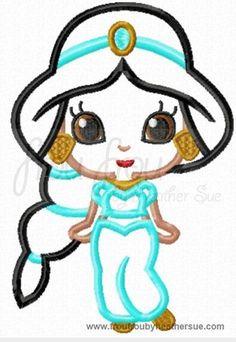 Jaz Little Princess Cutie Machine Applique Embroidery Design, Multiple Sizes NOW INCLUDING 4 INCH