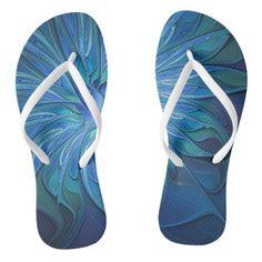 Blue Flower Fantasy Pattern, Abstract Fractal Art Flip Flops