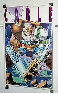 1993 Rare vintage original Cable of the Uncanny X-Men 34 by 22 inch Marvel Comics Universe comic book poster pin-up 1: X-Force and New Mutants hero