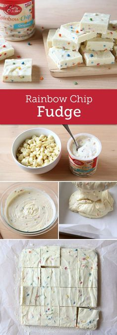 Make a simple (and simply delicious) two-ingredient fudge recipe starring fan-favorite Betty Crocker Rich & Creamy rainbow chip frosting. Look for white chips that contain cocoa butter. They will melt more easily and are less likely to scorch when heated.