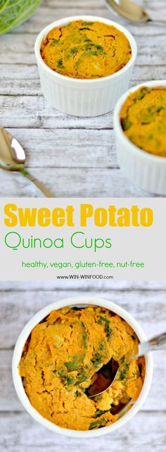 Sweet Potato Quinoa Cups with Kale | WIN-WINFOOD.com Delicious #appetizer or #side that is also incredibly good for you #healthy #vegan #plantbased #glutenfree #oilfree