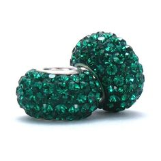 Set of 2 - Bella Fascini Emerald Green Crystal Pave Sparkle Bling - Solid .925 Sterling Silver Core European Charm Bead Made with Authentic Swarovski Crystals - Compatible Brand Bracelets : Authentic Pandora, Chamilia, Moress, Troll, Ohm, Zable, Biagi, Kay's Charmed Memories, Kohl's, Persona & more! Bella Fascini Beads,http://www.amazon.com/dp/B005LK86XW/ref=cm_sw_r_pi_dp_2cW-sb00JMA9ZEV7