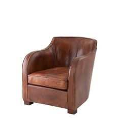 Eichholtz Berkshire Club Chair - Aged leather armchair with deep tobacco colour reminiscent of the chairs found in Gentleman's club lounges. A decadent chair which will age with grace and sophistication.