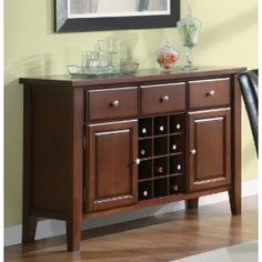 Coaster Rodeo Server with Wine Rack in Romantic Cherry Finish $529.00
