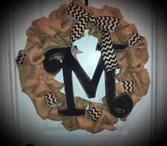 24 inch Burlap Wreath with letter tile and by CustomCraftsByEmily