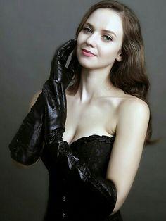 Gorgeous supple black leather opera gloves