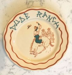 Vintage-Wallace-China-Desert-Ware-Dude-Ranch-Rodeo-Cowboy-Western-Plate-Dish