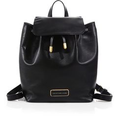 Marc by Marc Jacobs Ligero Leather Backpack ($415) ❤ liked on Polyvore featuring bags, backpacks, apparel & accessories, black, black leather knapsack, leather strap backpack, drawstring backpack, marc by marc jacobs en black leather rucksack