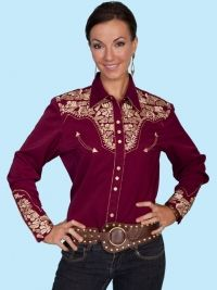 Scully Floral Casual Western Tops & Blouses for Women Western Show Shirts, Western Tops, Western Wear For Women, Cowgirl Shirts, Western Dresses, Western Outfits, Chemises Country, Burgundy Outfit, Vestidos