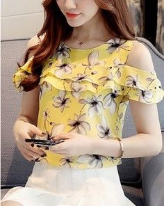 Buy Women's Blouse Solid Slash Neck Flare Sleeve Top & Blouses - at Jolly Chic - Kudur Agla Blouse Styles, Blouse Designs, Girl Fashion, Womens Fashion, Fashion Design, Sewing Clothes, African Fashion, Dress Outfits, Ideias Fashion