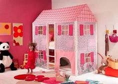 This wendy house is actually a girls themed bed for kids made from