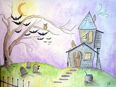 Halloween Painting Illustration 18x24 Watercolor by LoganBerard